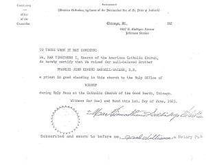 Barwell-Walker consecration certificate