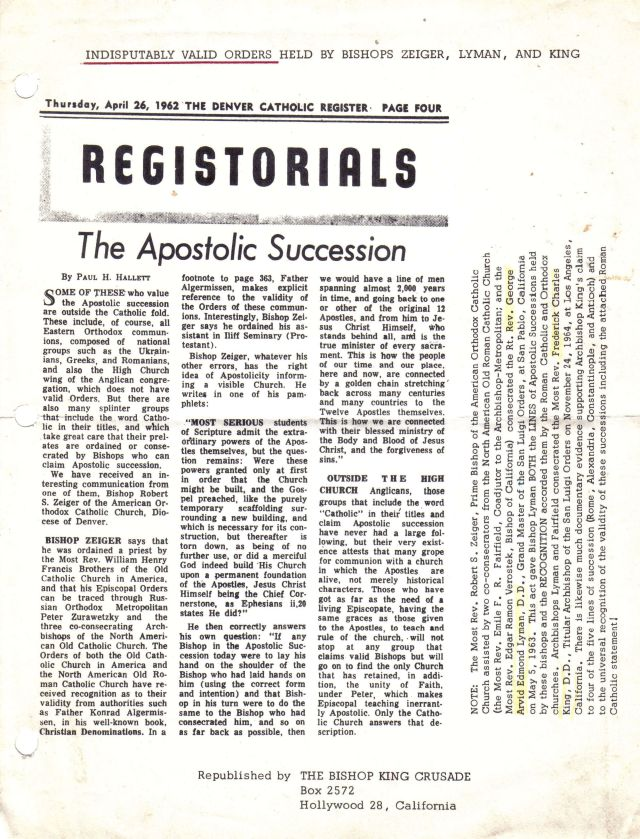 Article from the Denver Catholic Register (a Roman Catholic periodical) confirming the validity of Archbishop Zeiger's Holy Orders.
