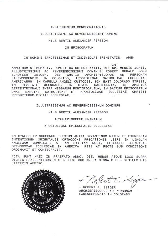 Consecration certificate of Archbishop Bertil Persson by Archbishop Robert S. Zeiger, 1994.
