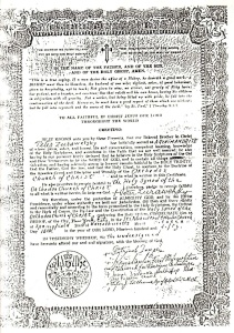 Episcopal consecration certificate of Bishop Peter Zhurawetsky (click to enlarge).