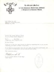 Letter of Prince-Abbot Edmond II de San Luigi to Prince Kermit of Miensk.