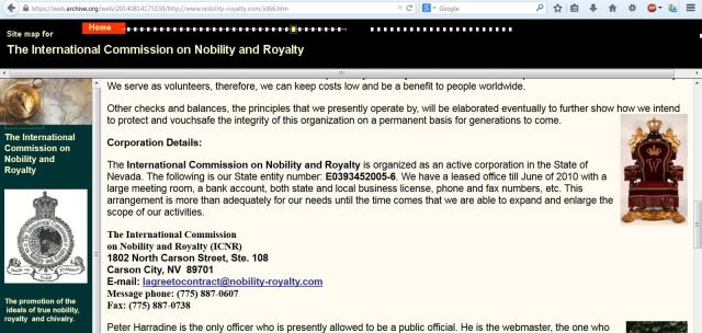 """International Commission on Nobility and Royalty"" Wayback Machine"