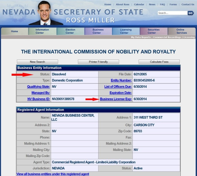 """Nevada Secretary of State re """"International Commission on Nobility and Royalty"""""""