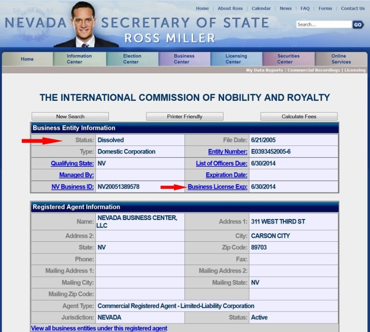 "Nevada Secretary of State re ""International Commission on Nobility and Royalty"""