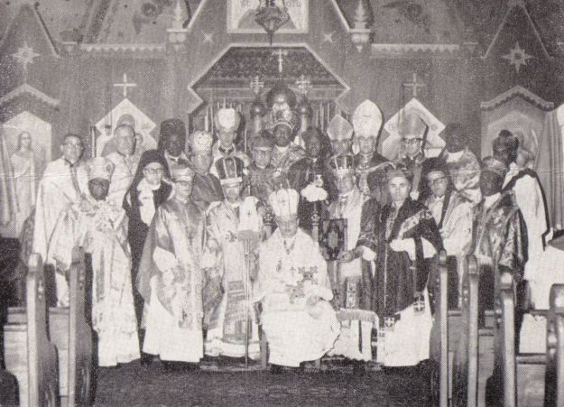 Synod of the American Orthodox Catholic Church. Bishop Ryzy-Ryski is front row, second from left. Patriarch Wolodymyr is fifth from left.