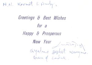 Card from the Queen of Ladakh.