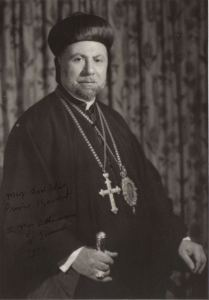 "Signed photograph of Mar Athanasius Yeshua Samuel, 1972. The inscription reads, ""May God bless Prince Kermit."""