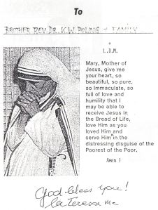 Dedication of Mother Teresa of Calcutta to Prince Kermit of Miensk.