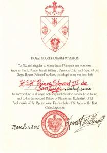 Prince Edmond succession document