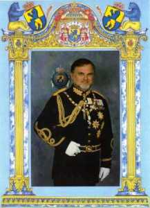 Prince William I of Alabona-Ostrogojsk in an official portrait sent to Prince Kermit of Miensk.
